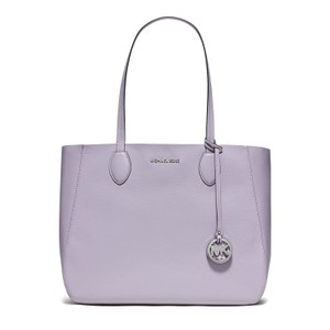 Michael Kors Mae East West Large Leather / Tote in Lilac / Silver
