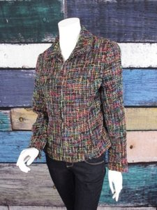 Coldwater Creek Coldwater Creek Black Neon Rainbow Tweed Fringe Zip Front Blazer Jacket