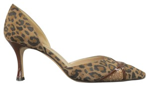 Manolo Blahnik Snakeskin Leopard Animal Print Suede Patent Leather brown Pumps