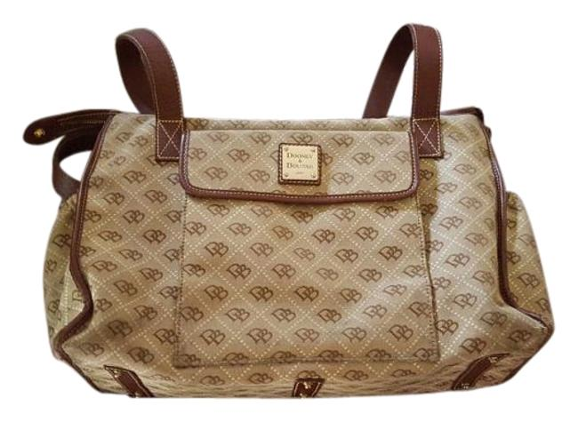 Item - Signature Brown/Grey/Creme Canvas and Leather Diaper Bag