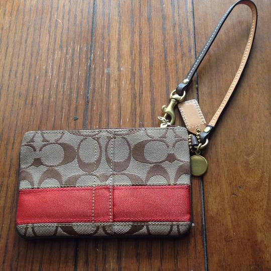 Coach Wristlet in Brown, Red Image 1