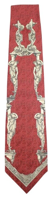 Item - Red Ivory Ancient Rome Greek Statue Printed Tie Gftty03