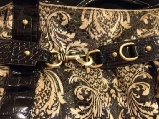 Francesca's Paisley Leather Tote in Black