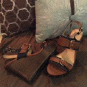 Guess Brown, denim Wedges