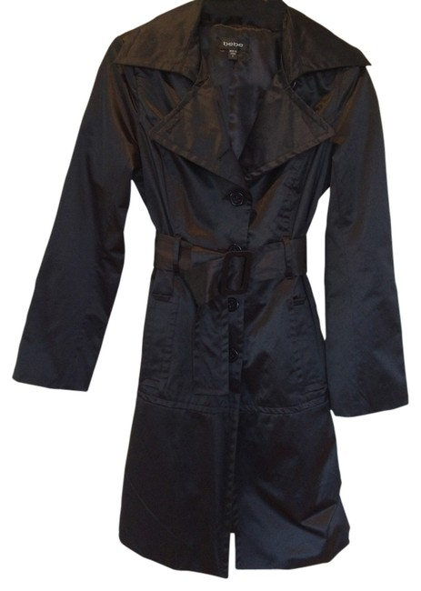 Item - Black Satin Single Breasted with Classic Styling Coat Size 4 (S)