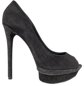 Brian Atwood Glitter Peep Toe Stacket Pumps Suede Black Platforms
