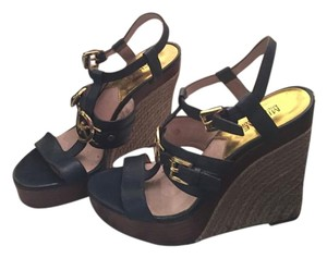 Michael Kors Micheal Chic Stylish Blue and gold Wedges