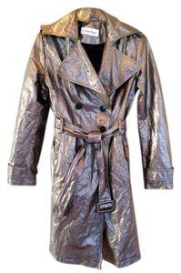Calvin Klein Metallic Kick Pleat Double Breasted Raincoat