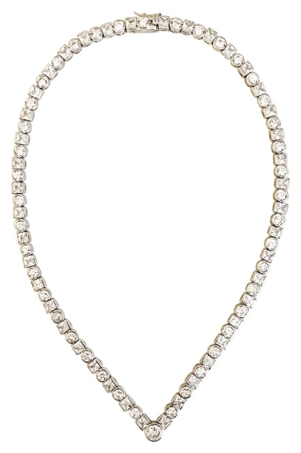 Item - Silver Round and Princess Cut Cz Necklace
