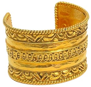 Chanel Vintage Chanel Gold-Plated Cuff with Brushed Etchings