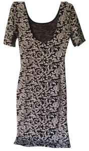 Composed short dress Black and white Midi Bodycon Floral Stretchy on Tradesy