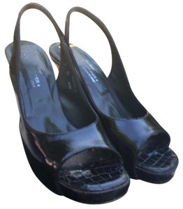 Donald J. Pliner Antique Black Patent/Black Gator Platforms