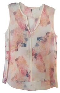 Rebecca Taylor Silk Cotton Sheer Top Pink Floral