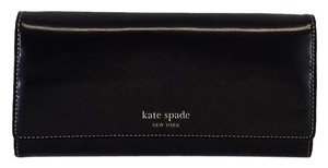 Kate Spade Black Rustic Leather Flapover Wallet