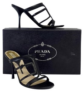 Prada Black Leather Heels Sandals