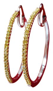 1/2 CT Medium Size Fancy Canary Yellow Color Diamond Hoop Earrings 925 Silver