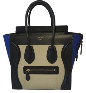 Céline Tote Leather Satchel in Blk,beige, Blue