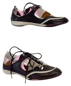 Emilio Pucci Brown Pink Print Sneakers Boots