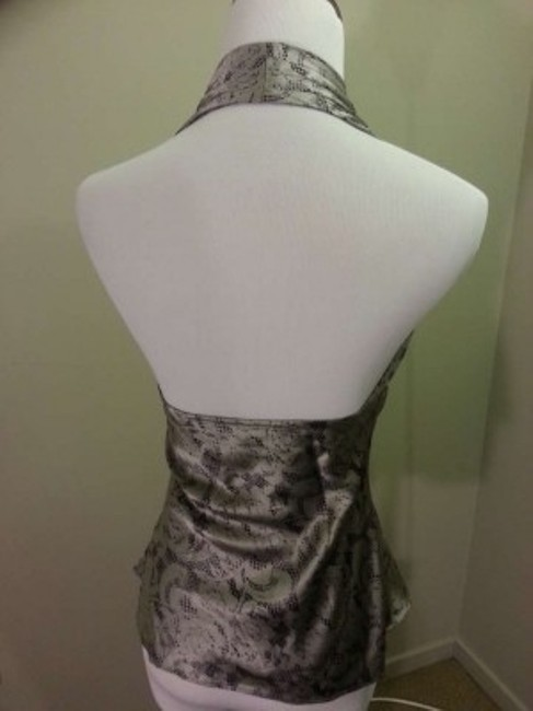 Express Silver/Black pattern Halter Top