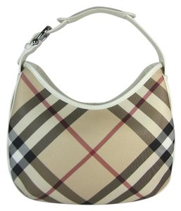 Burberry Nova Check Leather Hobo Shoulder Bag