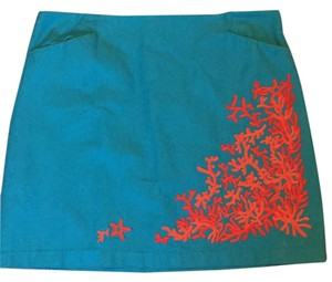 Lilly Pulitzer Skirt Bright Blue with Coral Accents