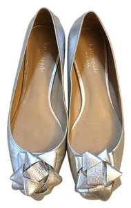 Kate Spade Metallic Silver Leather Bow Flats