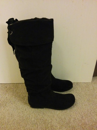 Madden Girl Microfiber Wider Calves Knee High Classic Black Boots