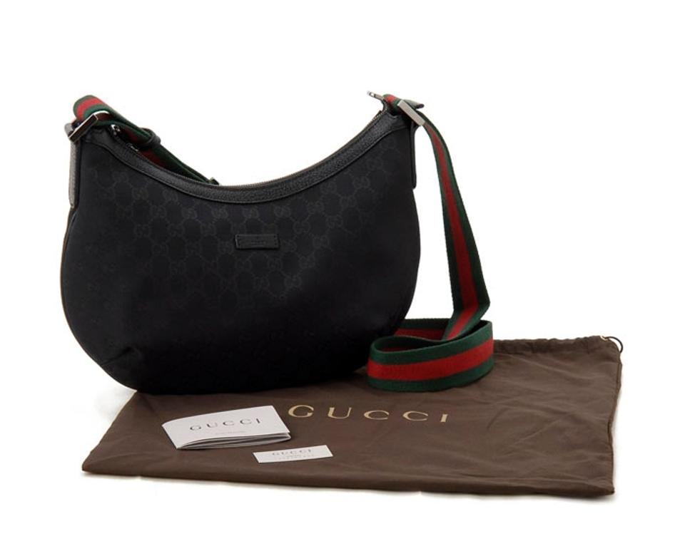 ef4adfd6b59 Gucci Gg Dipped Messenger with Signature Web Strap Black Canvas ...
