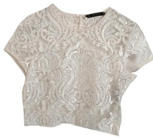 Zara Wedding Crop Lace Top Ivory with Sequins
