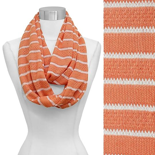 Modern Vintage Stripe Pattern Lace Knitted Infinity Scarf