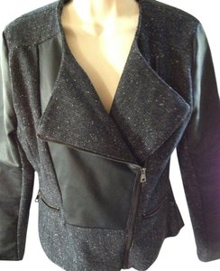Dollhouse Faux Tweed Zipper Motorcycle Lined Asymmetrical Black, White Leather Jacket