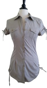 Digital Clothing Casual Fashion Tunic Short Sleeve Stylish Button Down Shirt Beige/taupe