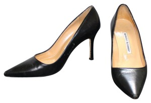 Manolo Blahnik Manolo Leather Stiletto Stiletto Black Pumps