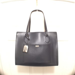 Ralph Lauren Lowell Leather New Nwt Tote in Navy Blue