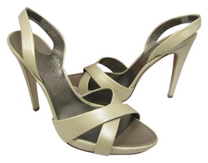 Salvatore Ferragamo Heel Slingback Open Toe Formal champagne, skin Sandals