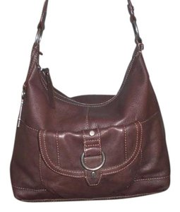 Fossil Top Zip Closure Leather Hobo Bag