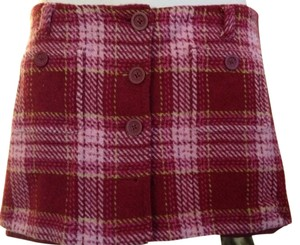 Abercrombie & Fitch Girl's Mini Tweed Wool Lined Mini Skirt Pink, White