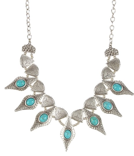 Chanour Chanour Turquoise Hammered Bib Necklace