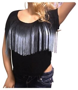 Forever 21 Tassel Unique Sexy T Shirt Black Teal Ombre