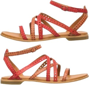 Camper Flat Twins Leather Red and Tan Sandals