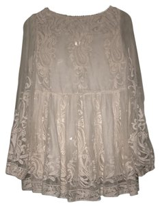 ZIMMERMANN Embroidered Silk Tunic Top Ivory