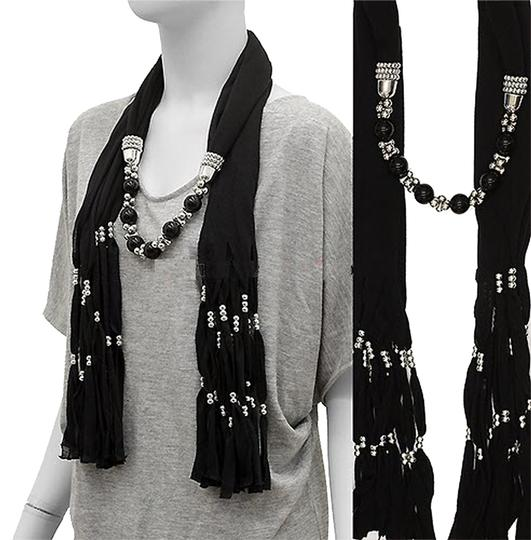 Modern Vintage Solid Jersey Ball Beads Deco Jewelry Black Scarf