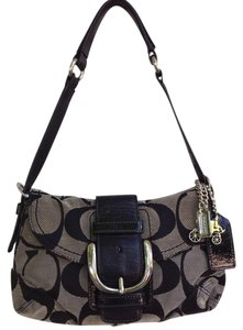 Coach Silver Hardware Signature Monogram Canvas Leather Shoulder Bag