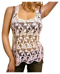 Love Tree Racer Back Lace Crochet Vs Cover Top White