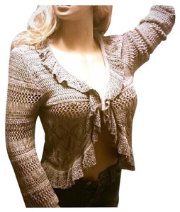 Style & Co Ruffle Cardi Crochet Looseknit Business Cardigan