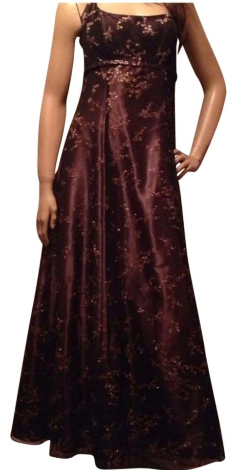 Blondie Nites Brown Gold Glam Gown Long Formal Dress Size 8 (M ...