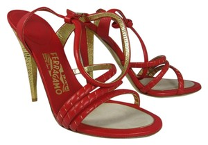 Salvatore Ferragamo Ankle Strap Gold Stiletto Heel Open Toe Formal Red cardinal red Sandals