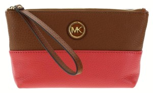 Michael Kors Michael Kors Fulton Medium Pebbled Leather Wristlet Pouch (Watermelon/Luggage)