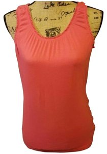 Merona #scoopneck #ruched #ruffle #ruffledneck #ruffledarm Top orange