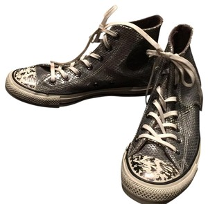 Converse Snakeskin High Top Silver Metallic Athletic